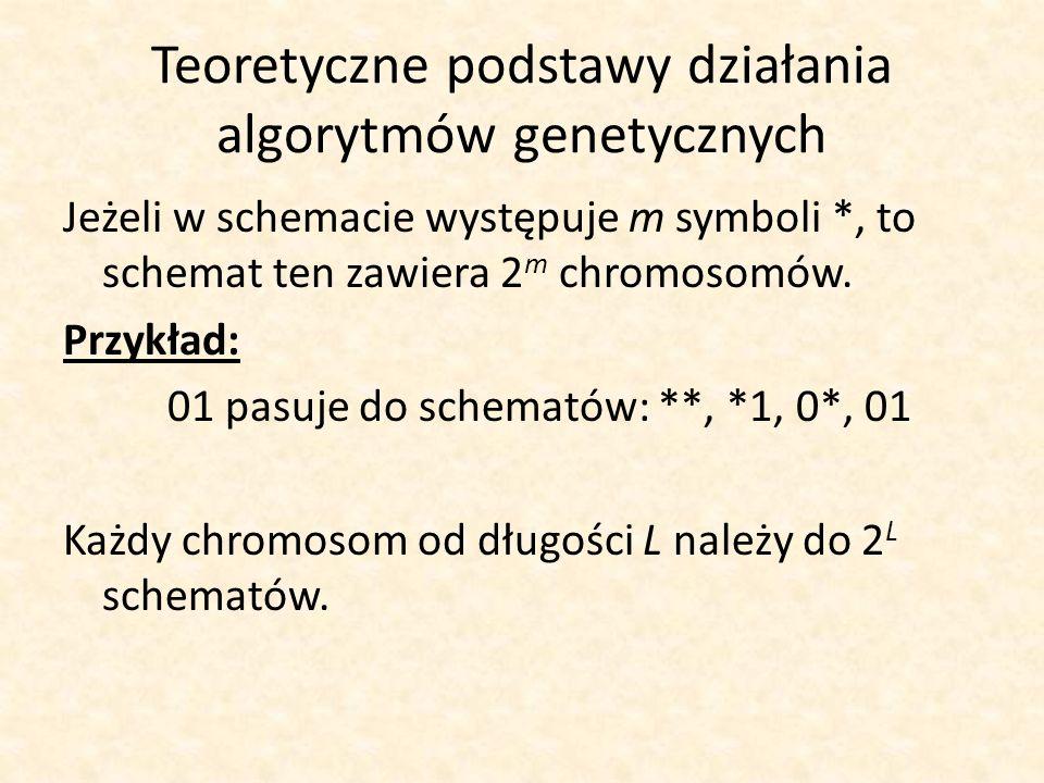 Teoretyczne podstawy działania algorytmów genetycznych Jeżeli w schemacie występuje m symboli *, to schemat ten zawiera 2 m chromosomów. Przykład: 01