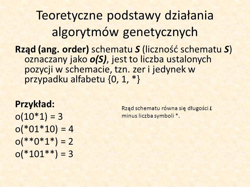Teoretyczne podstawy działania algorytmów genetycznych Rząd (ang. order) schematu S (liczność schematu S) oznaczany jako o(S), jest to liczba ustalony