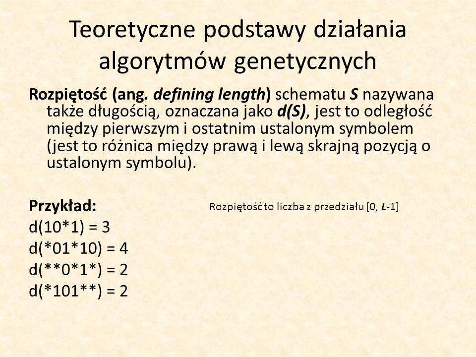 Teoretyczne podstawy działania algorytmów genetycznych Rozpiętość (ang. defining length) schematu S nazywana także długością, oznaczana jako d(S), jes