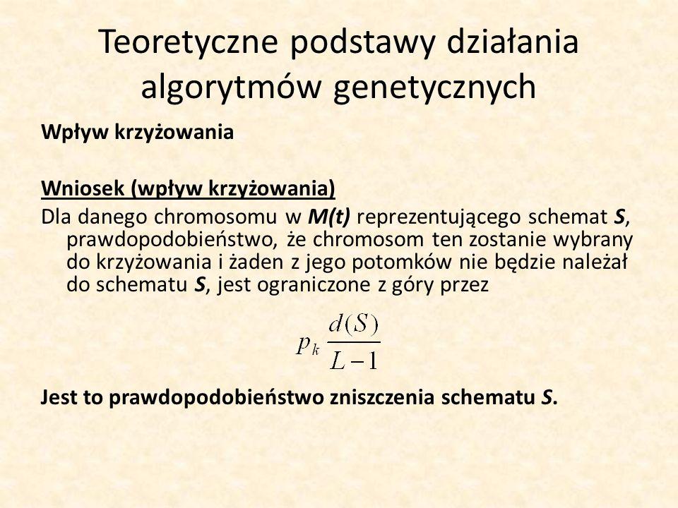 Teoretyczne podstawy działania algorytmów genetycznych Wpływ krzyżowania Wniosek (wpływ krzyżowania) Dla danego chromosomu w M(t) reprezentującego sch