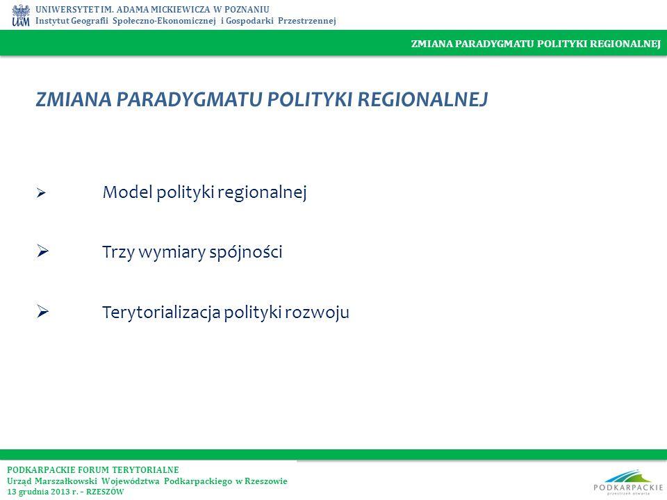 UNIWERSYTET IM. ADAMA MICKIEWICZA W POZNANIU Instytut Geografii Społeczno-Ekonomicznej i Gospodarki Przestrzennej ZMIANA PARADYGMATU POLITYKI REGIONAL