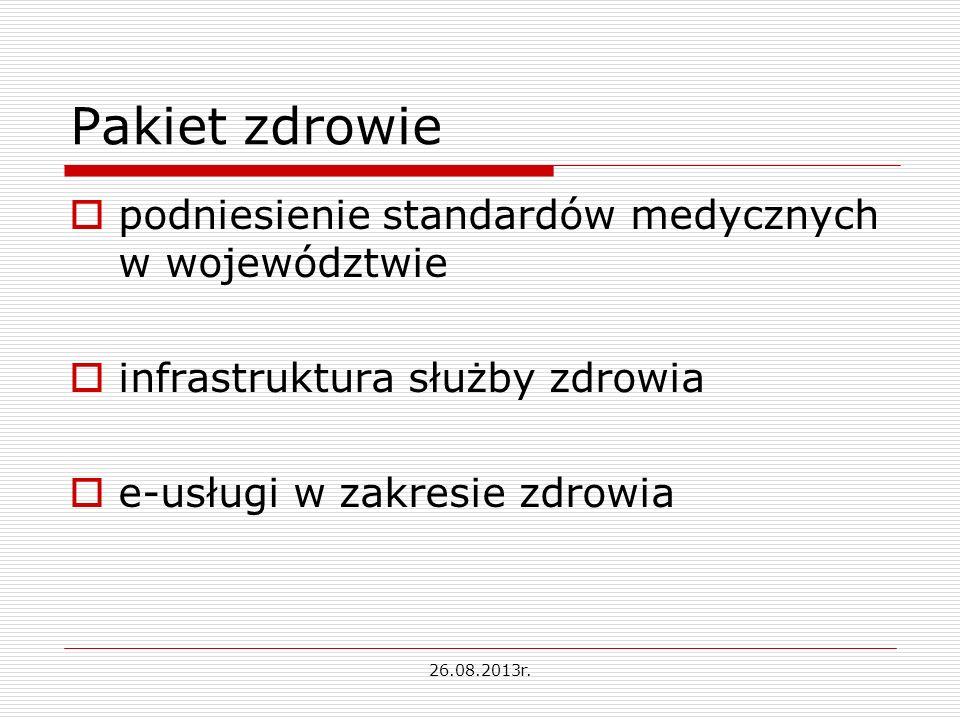 Pakiet zdrowie podniesienie standardów medycznych w województwie infrastruktura służby zdrowia e-usługi w zakresie zdrowia 26.08.2013r.