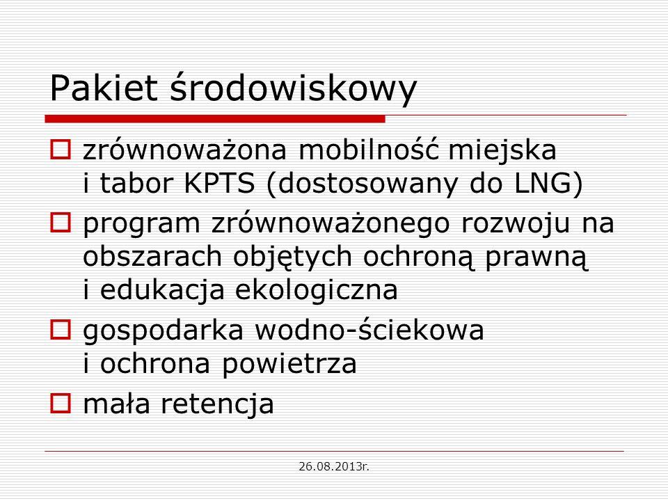 Pakiet środowiskowy zrównoważona mobilność miejska i tabor KPTS (dostosowany do LNG) program zrównoważonego rozwoju na obszarach objętych ochroną prawną i edukacja ekologiczna gospodarka wodno-ściekowa i ochrona powietrza mała retencja 26.08.2013r.