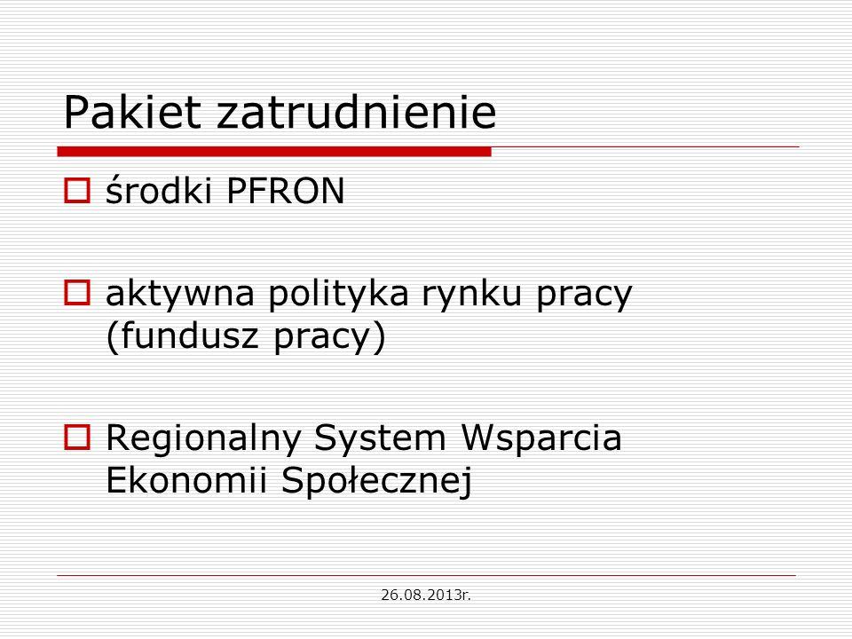 Pakiet zatrudnienie środki PFRON aktywna polityka rynku pracy (fundusz pracy) Regionalny System Wsparcia Ekonomii Społecznej 26.08.2013r.
