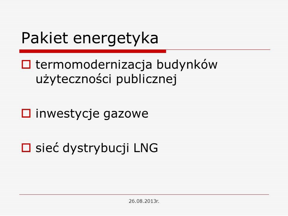 Pakiet energetyka termomodernizacja budynków użyteczności publicznej inwestycje gazowe sieć dystrybucji LNG 26.08.2013r.