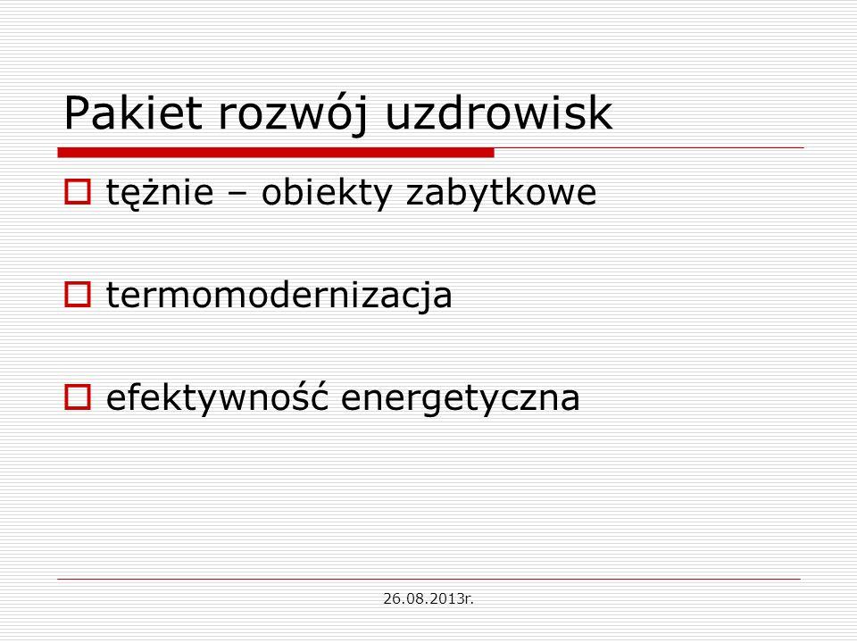 Pakiet rozwój uzdrowisk tężnie – obiekty zabytkowe termomodernizacja efektywność energetyczna 26.08.2013r.