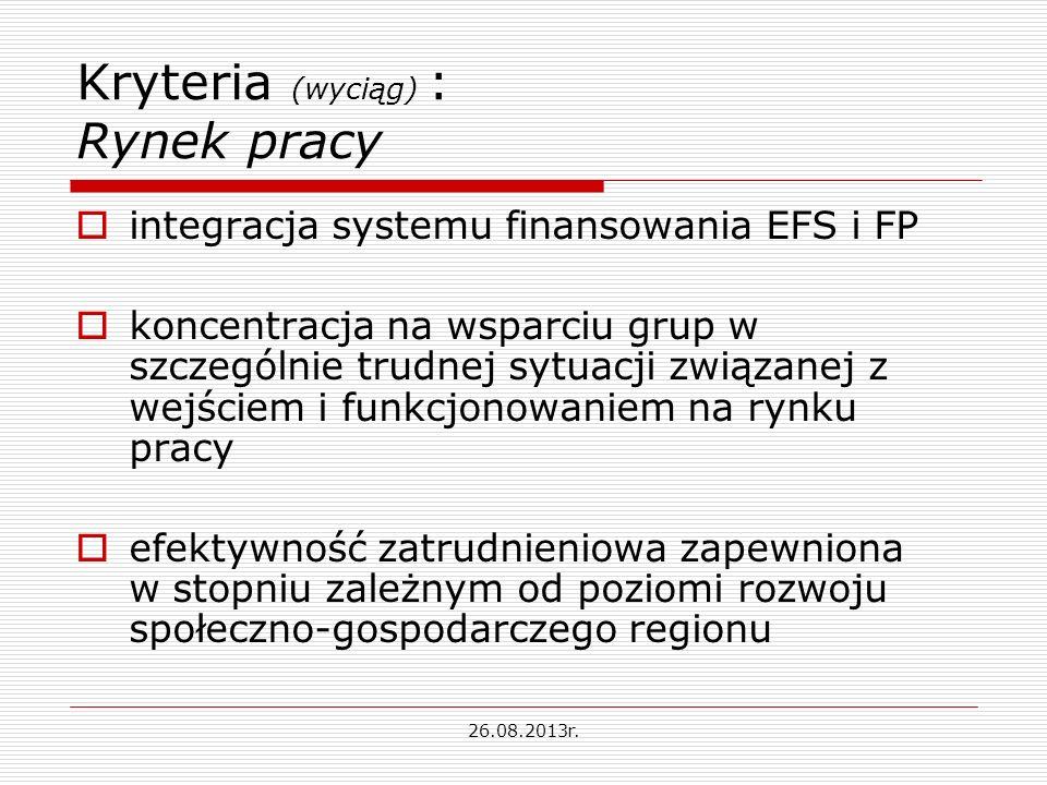 Kryteria (wyciąg) : Rynek pracy integracja systemu finansowania EFS i FP koncentracja na wsparciu grup w szczególnie trudnej sytuacji związanej z wejściem i funkcjonowaniem na rynku pracy efektywność zatrudnieniowa zapewniona w stopniu zależnym od poziomi rozwoju społeczno-gospodarczego regionu 26.08.2013r.