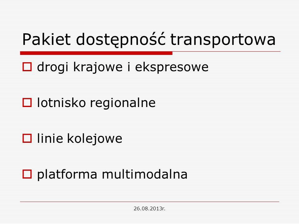 Pakiet dostępność transportowa drogi krajowe i ekspresowe lotnisko regionalne linie kolejowe platforma multimodalna 26.08.2013r.