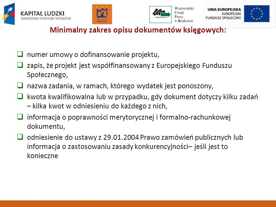 Minimalny zakres opisu dokumentów księgowych: numer umowy o dofinansowanie projektu, zapis, że projekt jest współfinansowany z Europejskiego Funduszu