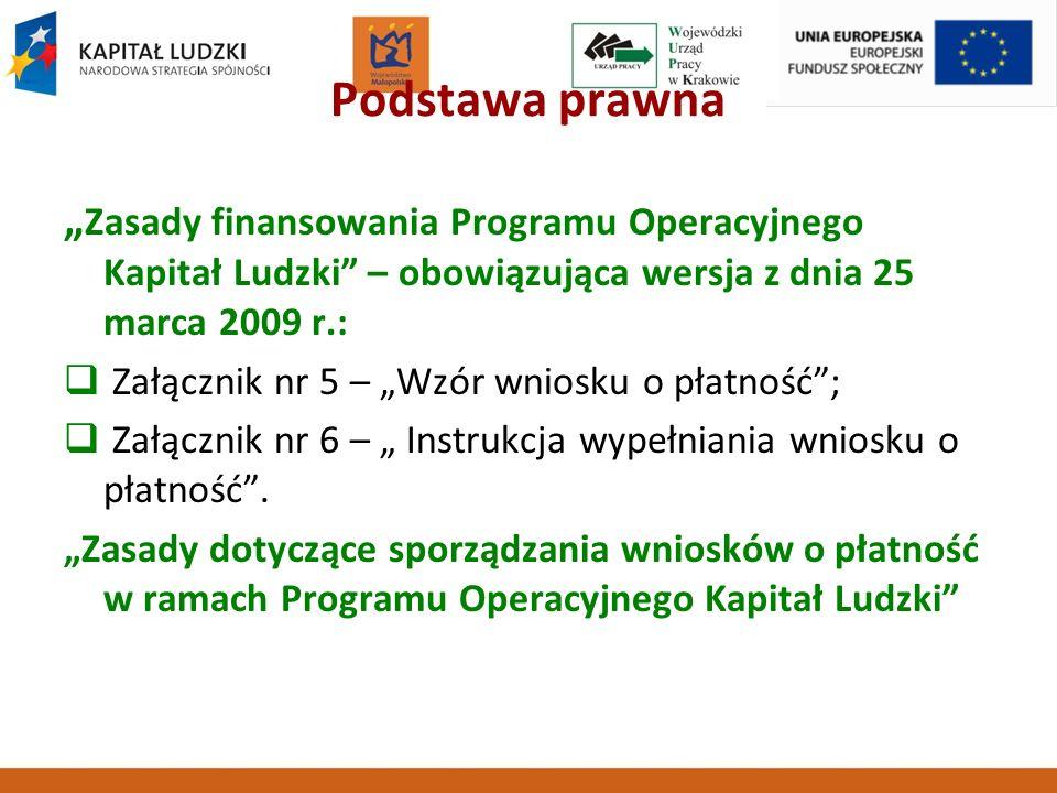 Podstawa prawna Zasady finansowania Programu Operacyjnego Kapitał Ludzki – obowiązująca wersja z dnia 25 marca 2009 r.: Załącznik nr 5 – Wzór wniosku