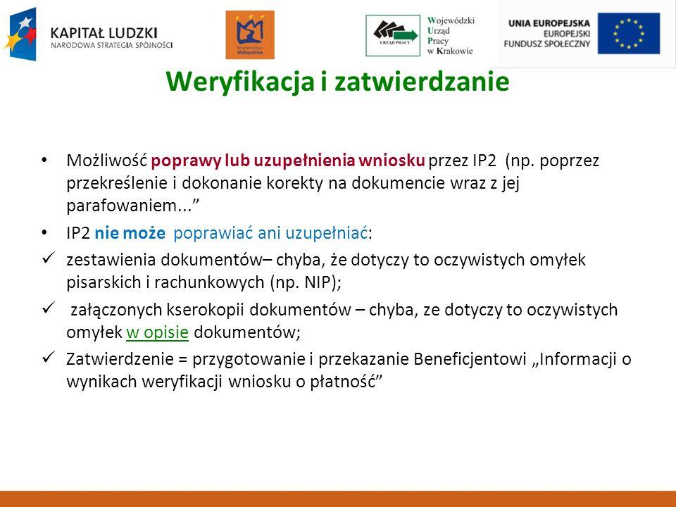 Weryfikacja i zatwierdzanie Możliwość poprawy lub uzupełnienia wniosku przez IP2 (np. poprzez przekreślenie i dokonanie korekty na dokumencie wraz z j
