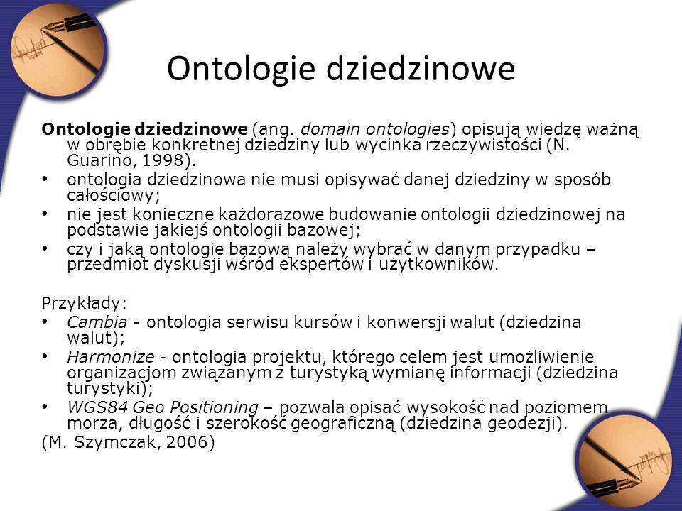 Ontologie dziedzinowe (ang. domain ontologies) opisują wiedzę ważną w obrębie konkretnej dziedziny lub wycinka rzeczywistości (N. Guarino, 1998). onto