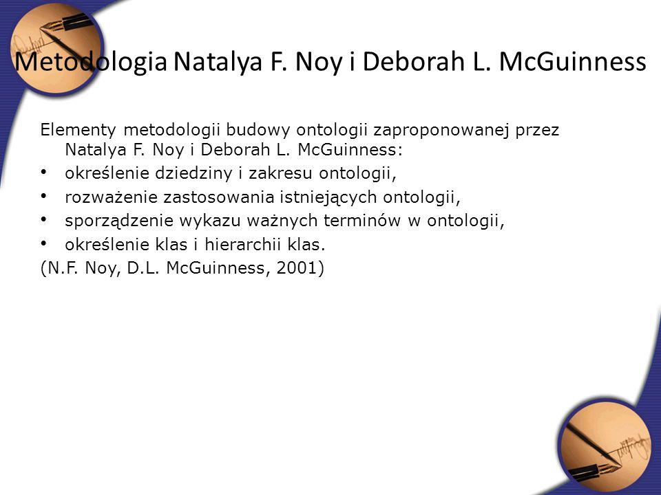 Elementy metodologii budowy ontologii zaproponowanej przez Natalya F. Noy i Deborah L. McGuinness: określenie dziedziny i zakresu ontologii, rozważeni