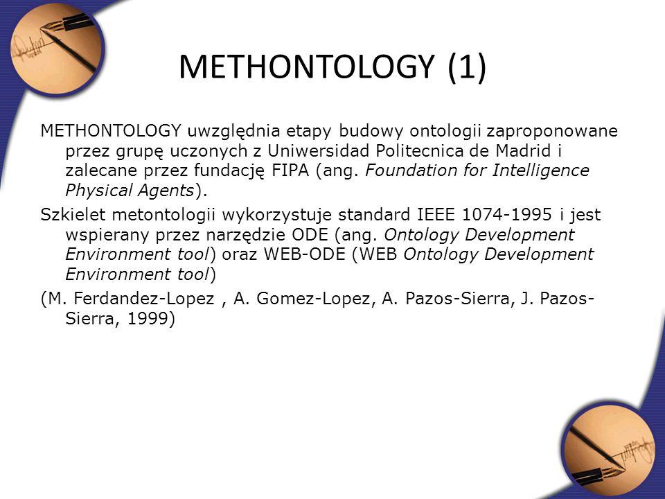 METHONTOLOGY uwzględnia etapy budowy ontologii zaproponowane przez grupę uczonych z Uniwersidad Politecnica de Madrid i zalecane przez fundację FIPA (