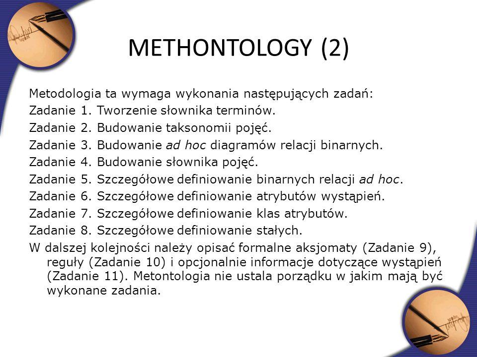 Metodologia ta wymaga wykonania następujących zadań: Zadanie 1. Tworzenie słownika terminów. Zadanie 2. Budowanie taksonomii pojęć. Zadanie 3. Budowan