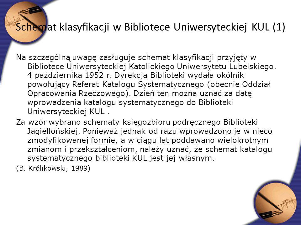Na szczególną uwagę zasługuje schemat klasyfikacji przyjęty w Bibliotece Uniwersyteckiej Katolickiego Uniwersytetu Lubelskiego. 4 października 1952 r.