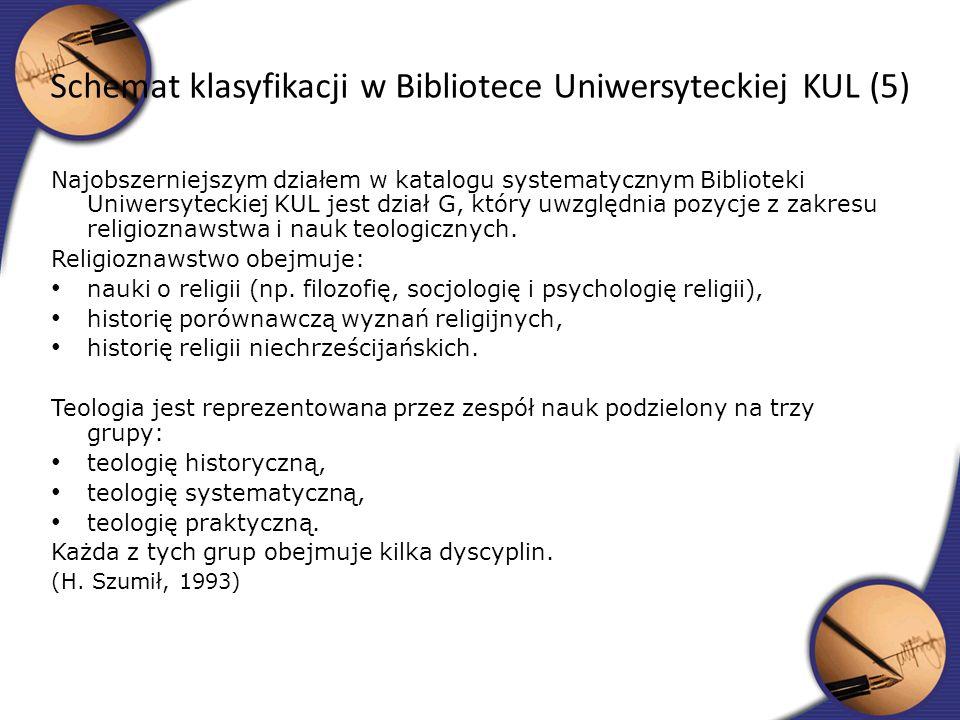 Najobszerniejszym działem w katalogu systematycznym Biblioteki Uniwersyteckiej KUL jest dział G, który uwzględnia pozycje z zakresu religioznawstwa i