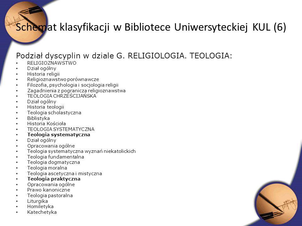 Podział dyscyplin w dziale G. RELIGIOLOGIA. TEOLOGIA: RELIGIOZNAWSTWO Dział ogólny Historia religii Religioznawstwo porównawcze Filozofia, psychologia