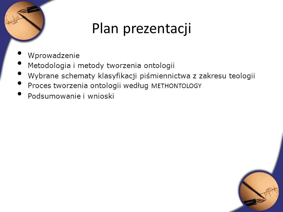 Wprowadzenie Metodologia i metody tworzenia ontologii Wybrane schematy klasyfikacji piśmiennictwa z zakresu teologii Proces tworzenia ontologii według