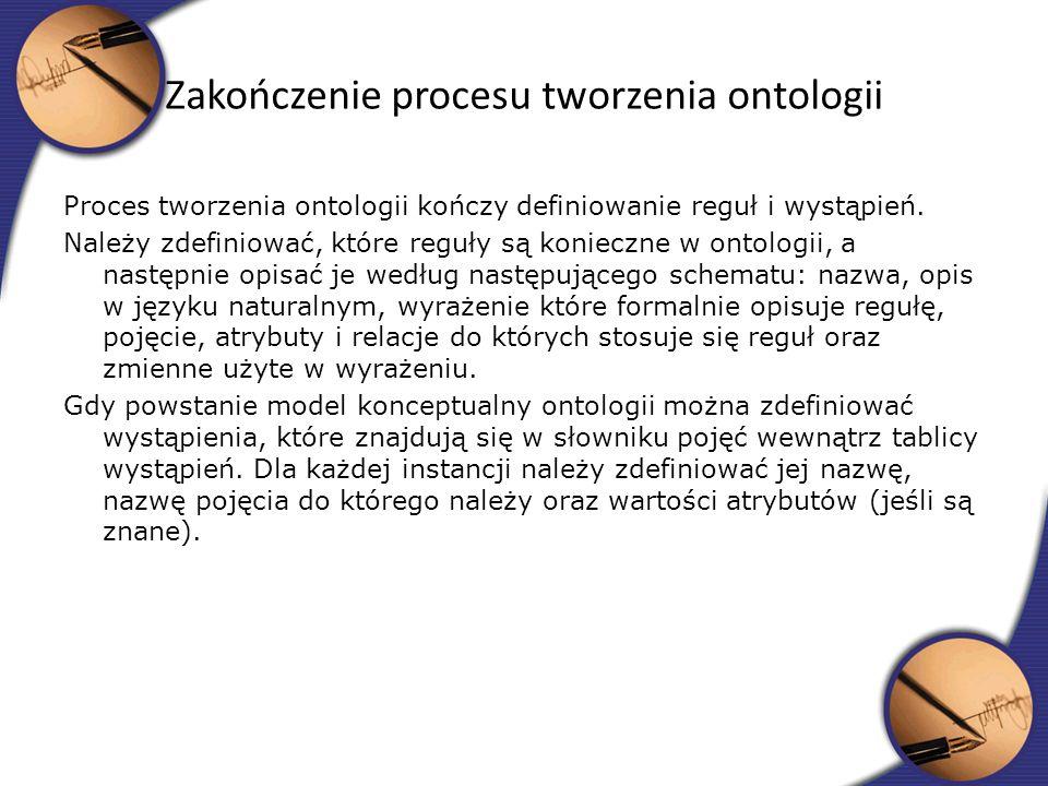 Proces tworzenia ontologii kończy definiowanie reguł i wystąpień. Należy zdefiniować, które reguły są konieczne w ontologii, a następnie opisać je wed
