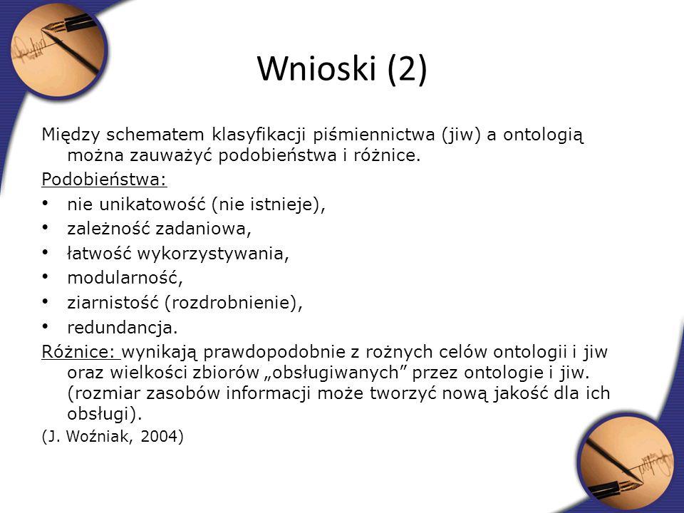 Między schematem klasyfikacji piśmiennictwa (jiw) a ontologią można zauważyć podobieństwa i różnice. Podobieństwa: nie unikatowość (nie istnieje), zal