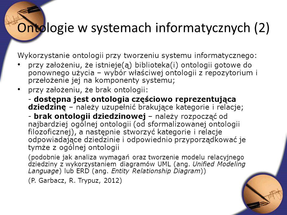 Wykorzystanie ontologii przy tworzeniu systemu informatycznego: przy założeniu, że istnieje(ą) biblioteka(i) ontologii gotowe do ponownego użycia – wy