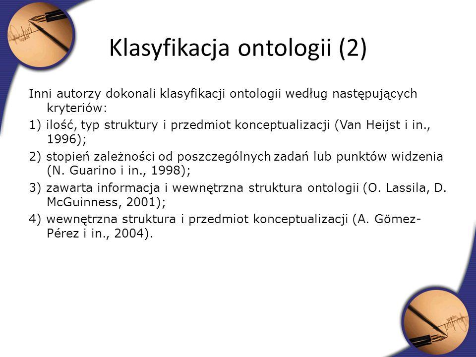 Inni autorzy dokonali klasyfikacji ontologii według następujących kryteriów: 1) ilość, typ struktury i przedmiot konceptualizacji (Van Heijst i in., 1