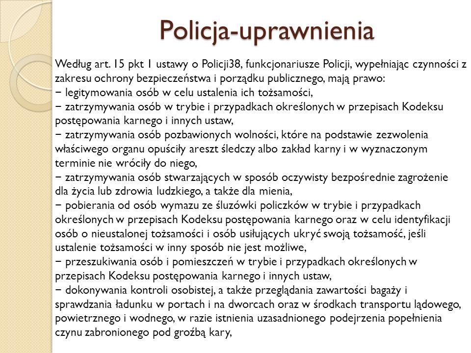 Policja-uprawnienia Według art.