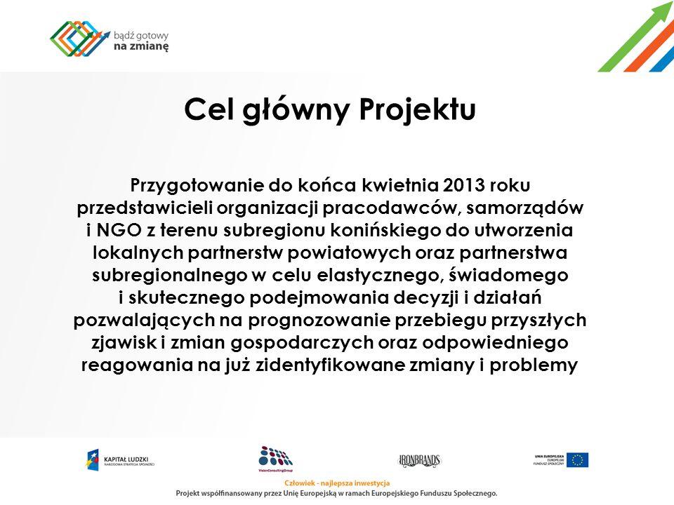 Cel główny Projektu Przygotowanie do końca kwietnia 2013 roku przedstawicieli organizacji pracodawców, samorządów i NGO z terenu subregionu konińskieg