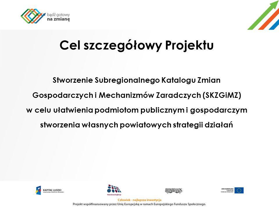 Cel szczegółowy Projektu Stworzenie Subregionalnego Katalogu Zmian Gospodarczych i Mechanizmów Zaradczych (SKZGiMZ) w celu ułatwienia podmiotom public