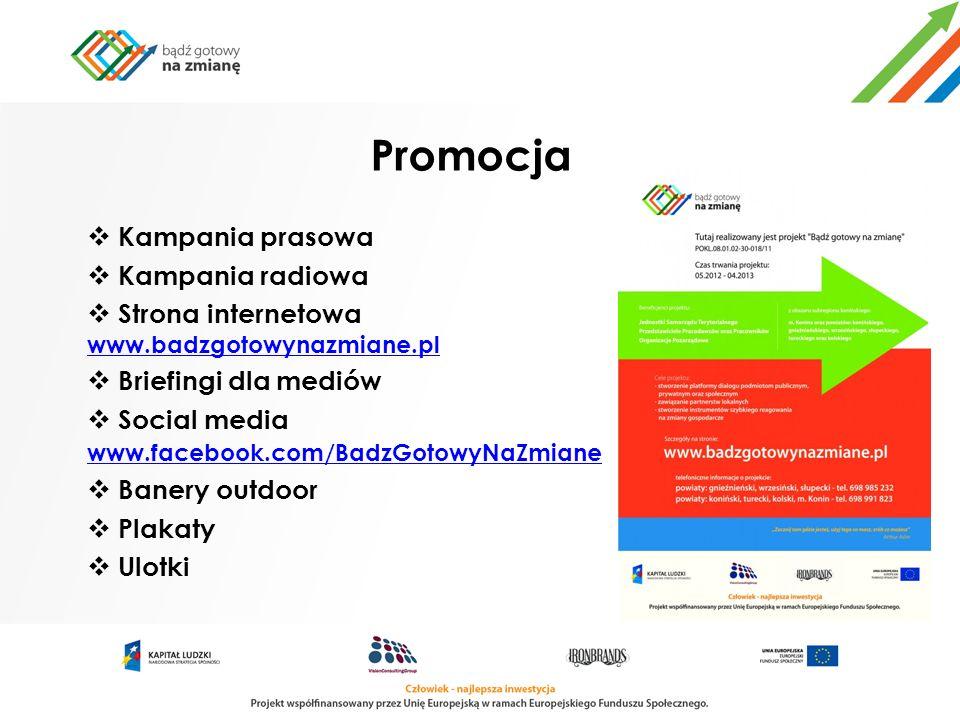Promocja Kampania prasowa Kampania radiowa Strona internetowa www.badzgotowynazmiane.pl www.badzgotowynazmiane.pl Briefingi dla mediów Social media ww