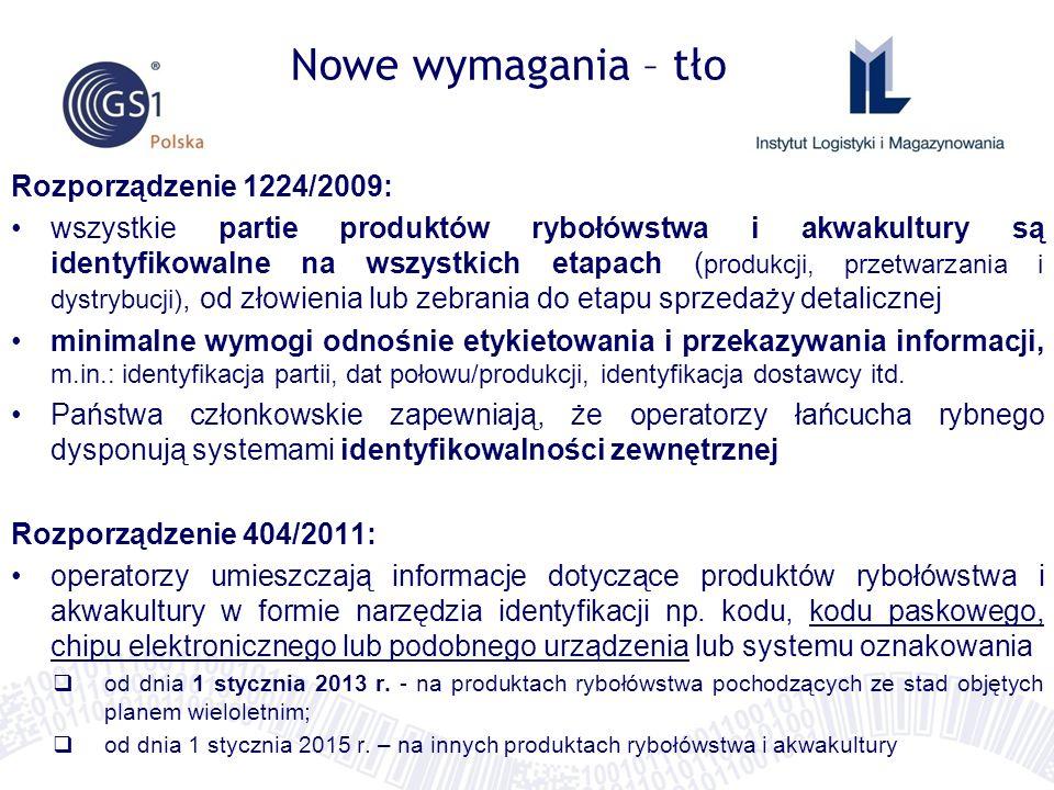Nowe wymagania – tło Rozporządzenie 1224/2009: wszystkie partie produktów rybołówstwa i akwakultury są identyfikowalne na wszystkich etapach ( produkc