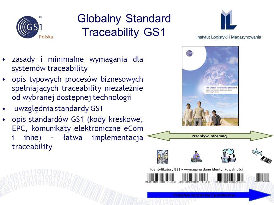 Globalny Standard Traceability GS1 zasady i minimalne wymagania dla systemów traceability opis typowych procesów biznesowych spełniających traceabilit
