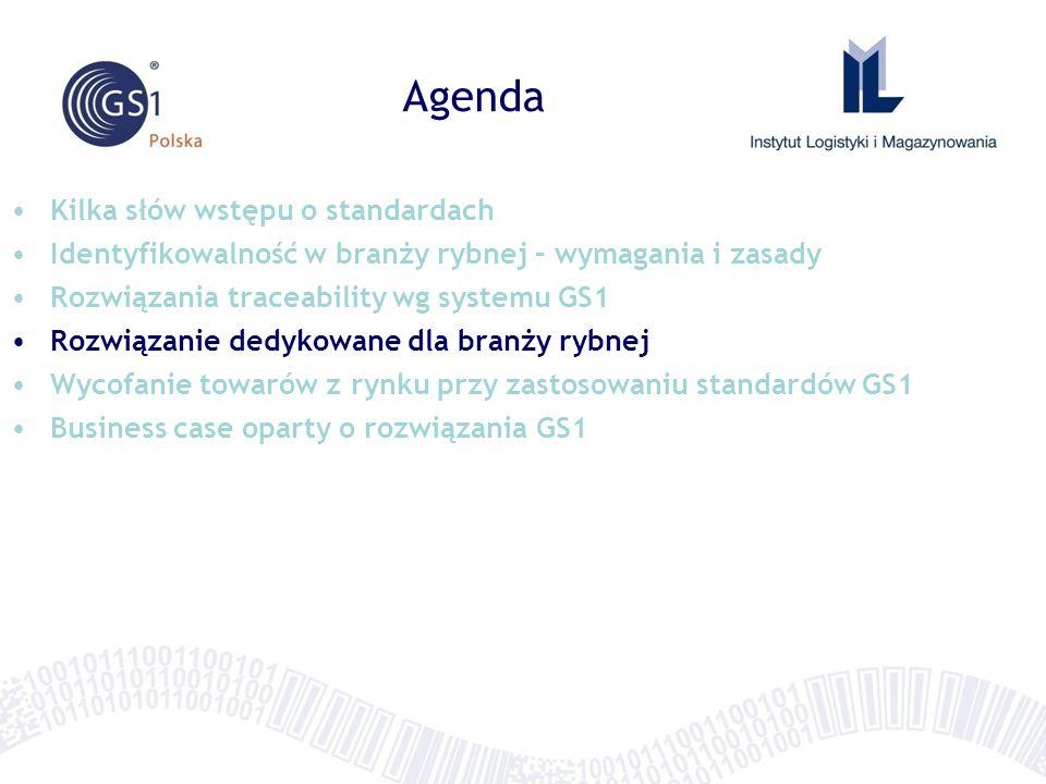 Agenda Kilka słów wstępu o standardach Identyfikowalność w branży rybnej – wymagania i zasady Rozwiązania traceability wg systemu GS1 Rozwiązanie dedy