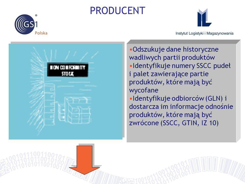 PRODUCENT Odszukuje dane historyczne wadliwych partii produktów Identyfikuje numery SSCC pudeł i palet zawierające partie produktów, które mają być wy
