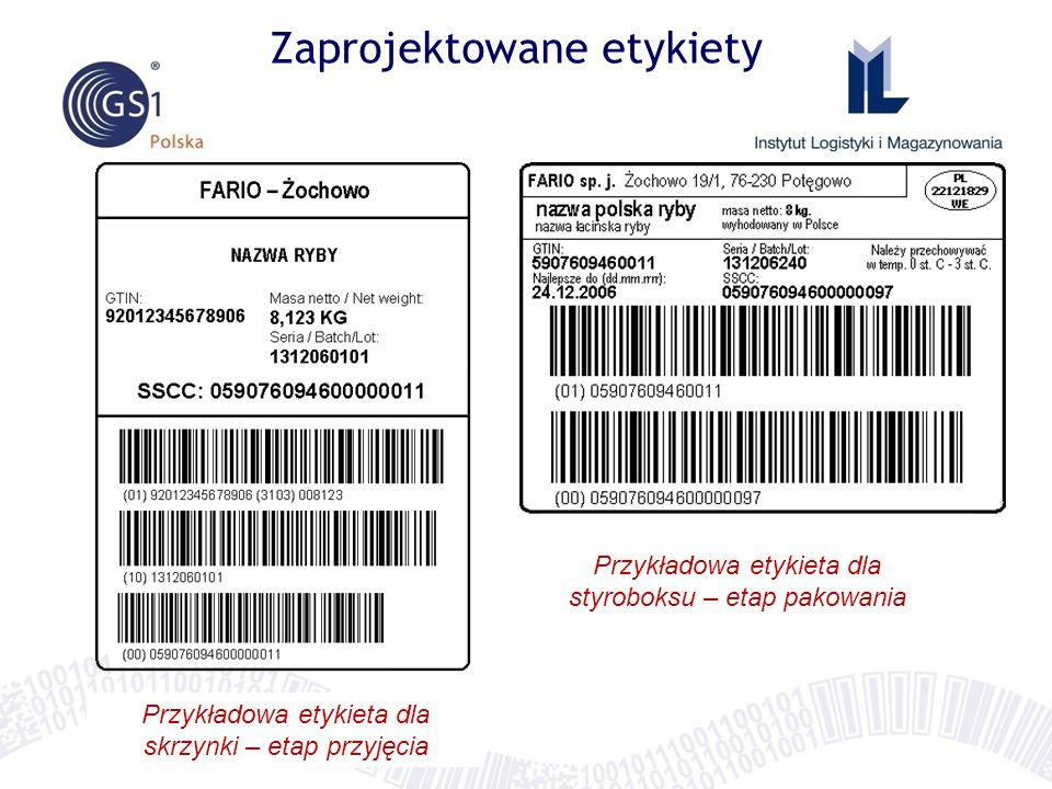 Zaprojektowane etykiety Przykładowa etykieta dla skrzynki – etap przyjęcia Przykładowa etykieta dla styroboksu – etap pakowania