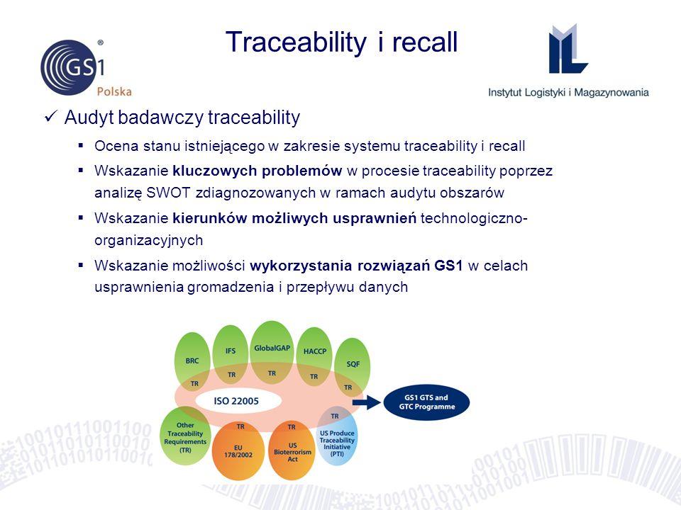 Traceability i recall Audyt badawczy traceability Ocena stanu istniejącego w zakresie systemu traceability i recall Wskazanie kluczowych problemów w p