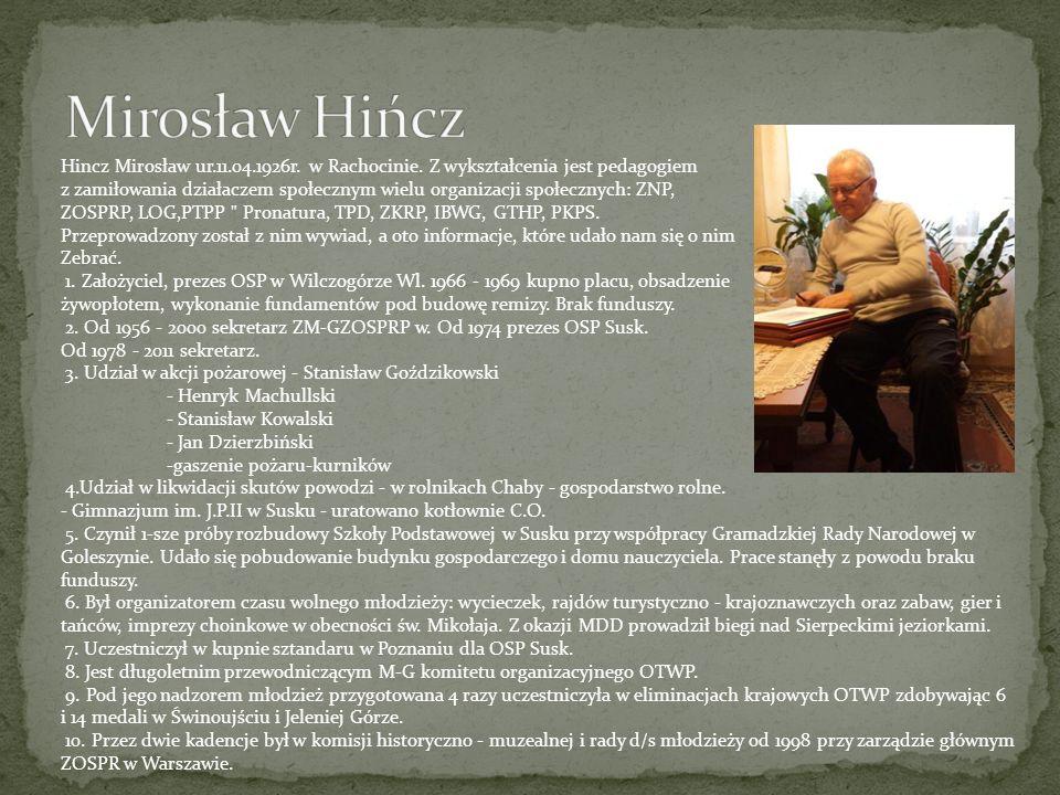 Hincz Mirosław ur.11.04.1926r. w Rachocinie. Z wykształcenia jest pedagogiem z zamiłowania działaczem społecznym wielu organizacji społecznych: ZNP, Z