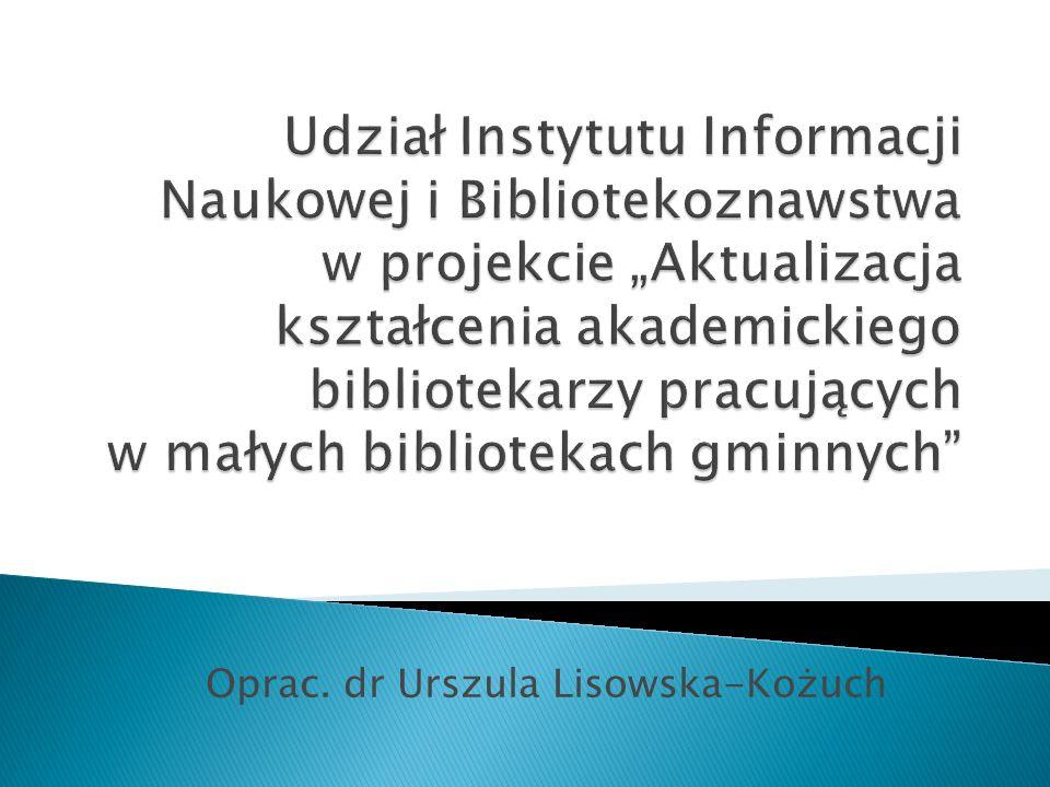Wstępne zapoznanie studentów zarówno z ogólną problematyką bibliotekarstwa gminnego, jak i zagadnieniami szczegółowymi.