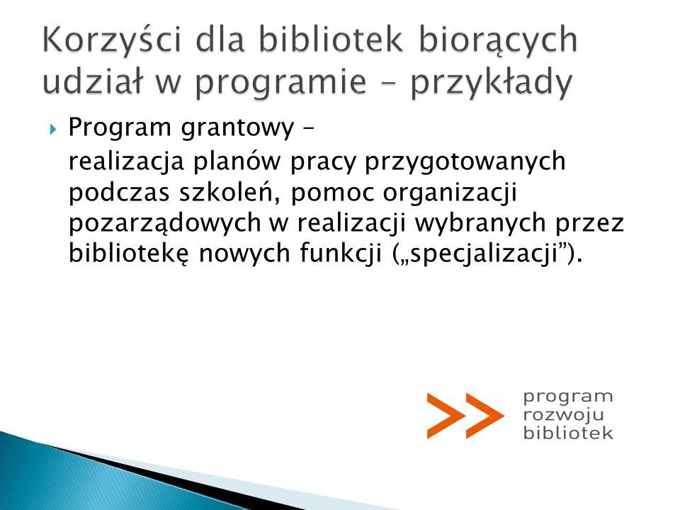 Program grantowy – realizacja planów pracy przygotowanych podczas szkoleń, pomoc organizacji pozarządowych w realizacji wybranych przez bibliotekę now