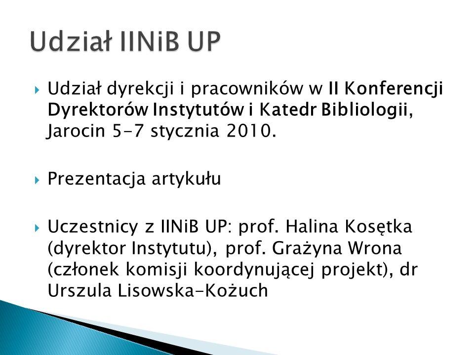 Udział dyrekcji i pracowników w II Konferencji Dyrektorów Instytutów i Katedr Bibliologii, Jarocin 5-7 stycznia 2010. Prezentacja artykułu Uczestnicy
