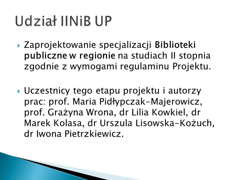 Zaprojektowanie specjalizacji Biblioteki publiczne w regionie na studiach II stopnia zgodnie z wymogami regulaminu Projektu. Uczestnicy tego etapu pro