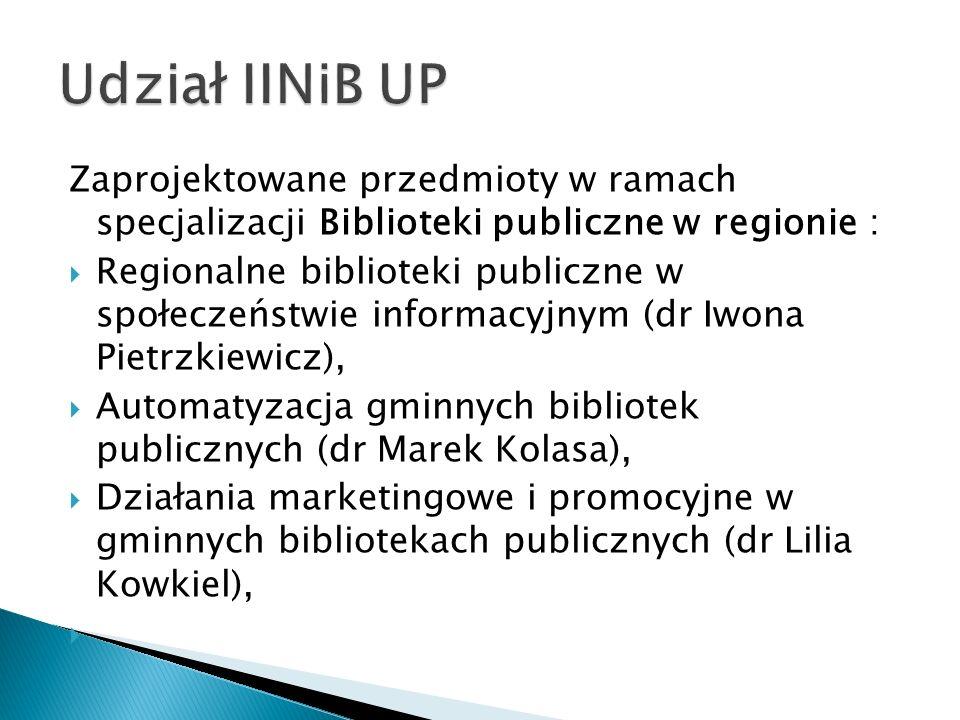 Zaprojektowane przedmioty w ramach specjalizacji Biblioteki publiczne w regionie : Regionalne biblioteki publiczne w społeczeństwie informacyjnym (dr