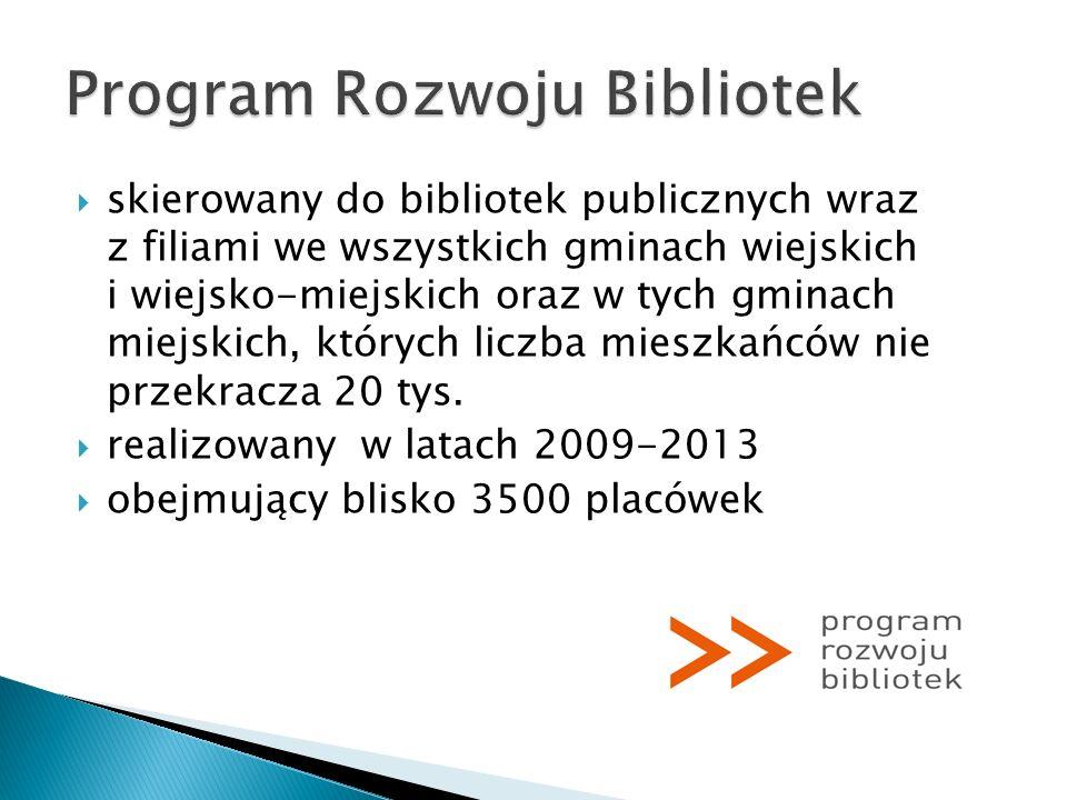 skierowany do bibliotek publicznych wraz z filiami we wszystkich gminach wiejskich i wiejsko-miejskich oraz w tych gminach miejskich, których liczba m