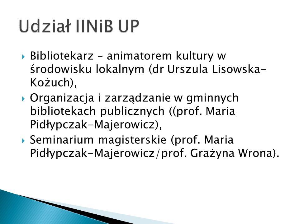 Bibliotekarz – animatorem kultury w środowisku lokalnym (dr Urszula Lisowska- Kożuch), Organizacja i zarządzanie w gminnych bibliotekach publicznych (