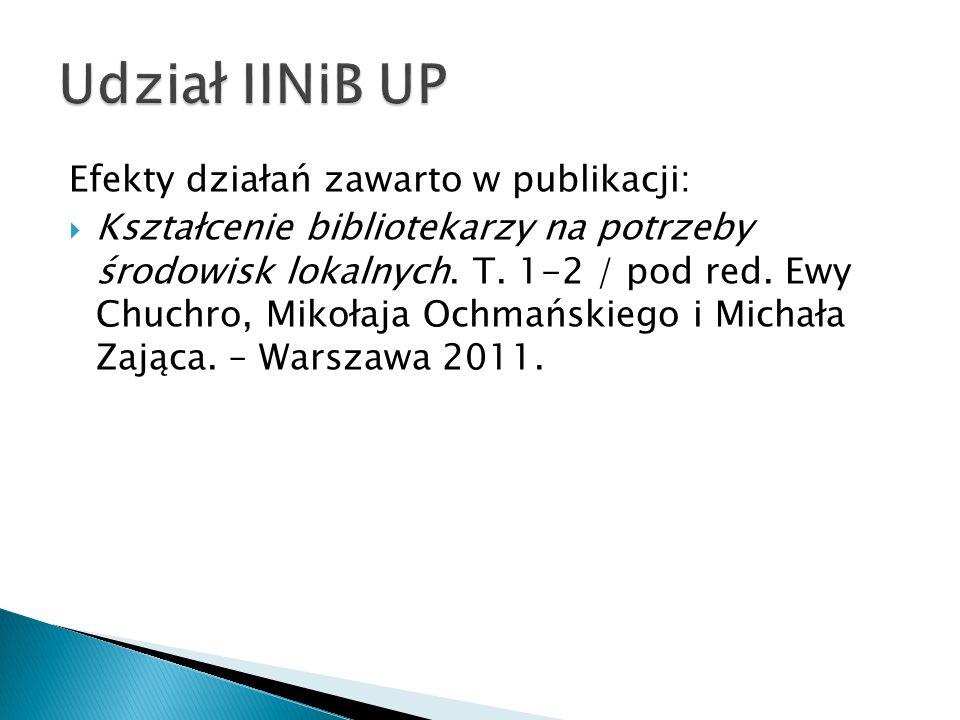 Efekty działań zawarto w publikacji: Kształcenie bibliotekarzy na potrzeby środowisk lokalnych. T. 1-2 / pod red. Ewy Chuchro, Mikołaja Ochmańskiego i