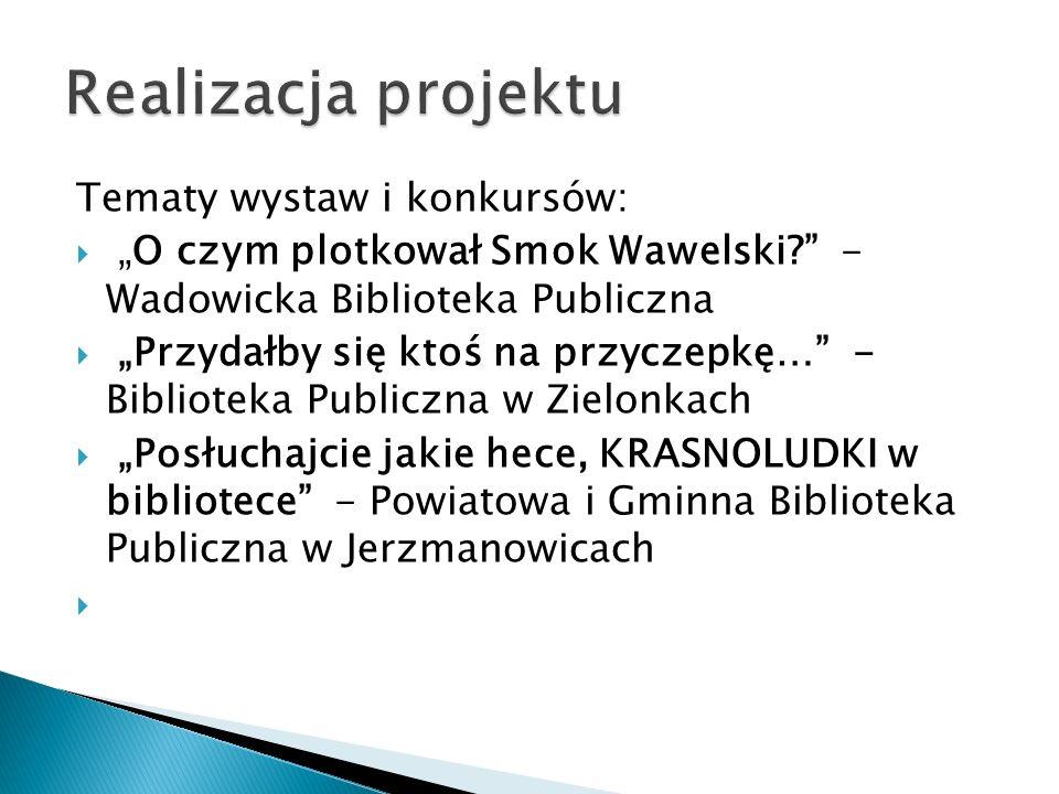 Tematy wystaw i konkursów: O czym plotkował Smok Wawelski? - Wadowicka Biblioteka Publiczna Przydałby się ktoś na przyczepkę… - Biblioteka Publiczna w