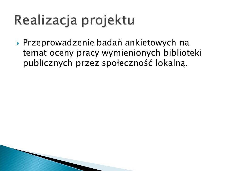 Przeprowadzenie badań ankietowych na temat oceny pracy wymienionych biblioteki publicznych przez społeczność lokalną.