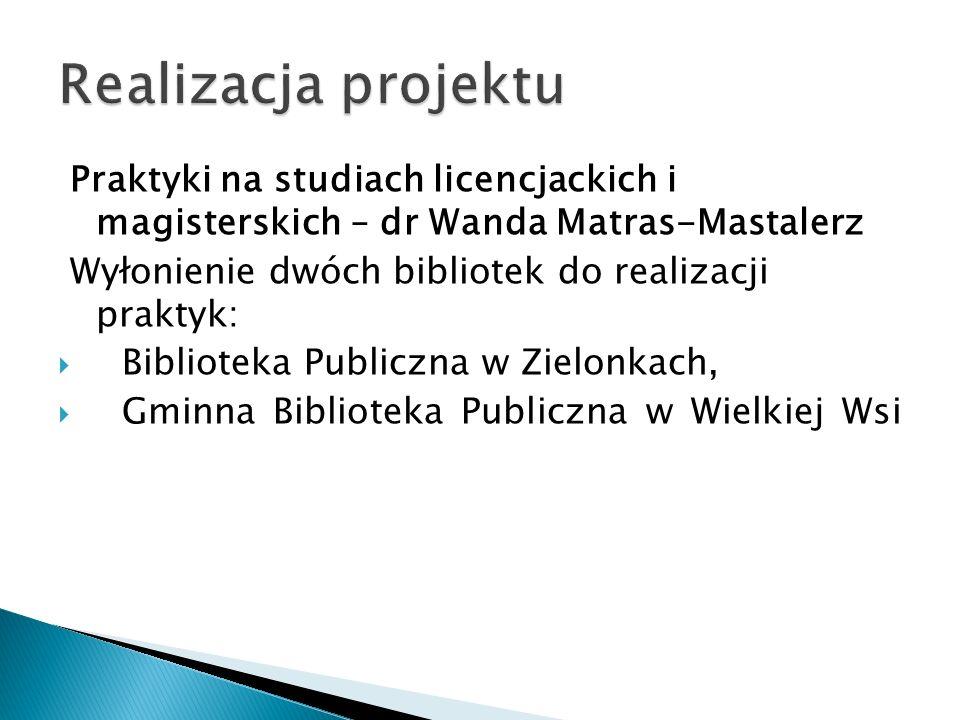 Praktyki na studiach licencjackich i magisterskich – dr Wanda Matras-Mastalerz Wyłonienie dwóch bibliotek do realizacji praktyk: Biblioteka Publiczna