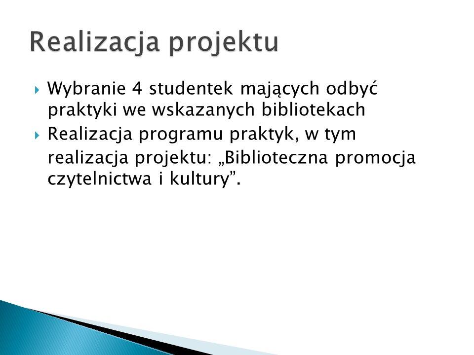 Wybranie 4 studentek mających odbyć praktyki we wskazanych bibliotekach Realizacja programu praktyk, w tym realizacja projektu: Biblioteczna promocja